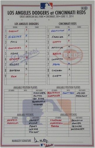 June 11, 2014 Cincinnati Reds Dodgers Line-up Card Don Mattingly Auto Ryu Cheto from Cardboard Legends Online