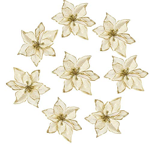 Amajoy 12pcs Glitter Poinsettia Christmas Tree Ornament Artificial Wedding Christmas Flowers Xmas Tree Wreaths Decor Ornament, 5.5inch, Red and Gold for Choice (Gold) (Rose Wreath Gold)