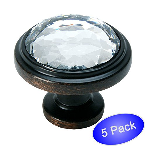 Fusion Hardware Bronze Knobs - Cosmas 5317ORB-C Oil Rubbed Bronze Cabinet Hardware Round Knob with Clear Glass - 1-1/4