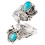 TSKIES Handmade Navajo Turquoise Sterling Silver Adjustable Ring Native American Jewelry