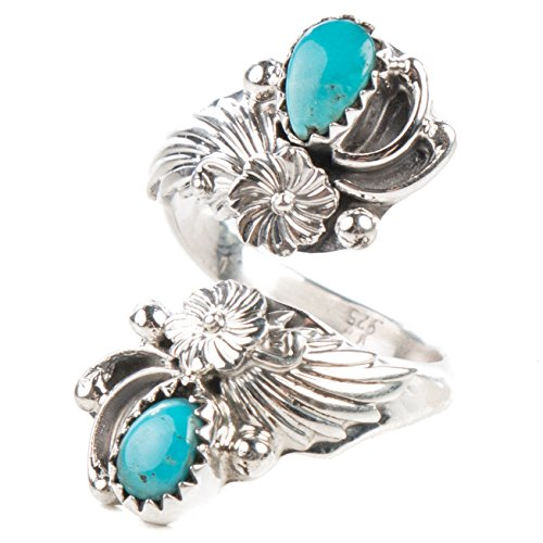 (TSKIES Handmade Navajo Turquoise Sterling Silver Adjustable Ring Native American)