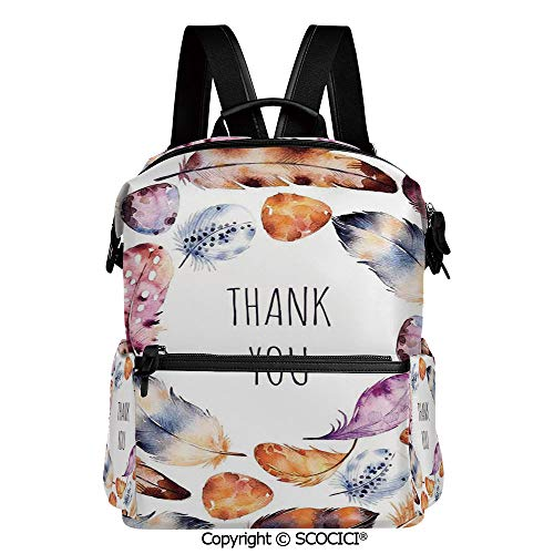- SCOCICI Personalized 3D Printed School Backpack,Bird Hawk Colored Feathers with Hand Written Thank You Note in Middle Print,L11.4xW6.3xH15 Inches