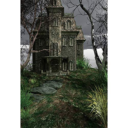 DORCEV 5x7ft Mysterious Castle Photography Backdrop Halloween Terror Theme Party Background Terror Dark Scary Forest Mysterious Castle Halloween Party Banner Halloween Photo Studio Props ()