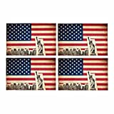 InterestPrint American Flag of United States of America Monuments Placemat Table Mats Set of 4, Heat Resistant Place Mat for Dining Table Restaurant Home Kitchen Decor 12''x18''