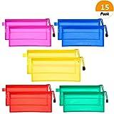 Bozoa (15 Pieces) 5 Colors Zipper File Bags Waterproof Plastic Double Layer for Pencil Pouch Pen Bag Invoice Pouches Bill Bag Cosmetics Supplies Travel Accessories