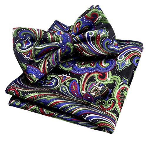 Alizeal Mens Multi-color Floral Pre-tied Bow Tie, Pocket Square and Cufflinks Set, Dark Green+Royal - Maroon Green