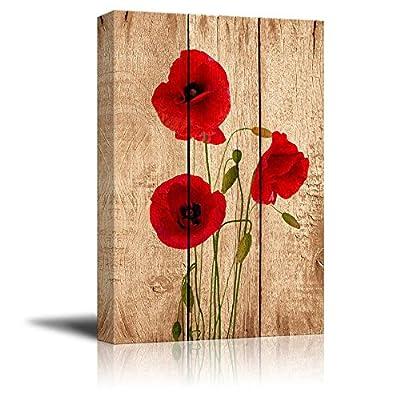 Poppy Flowers on Vintage Wood Background - Canvas Art