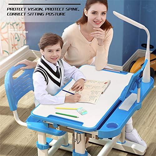 Maplople Children Desk Chair Set Height Adjustable Children Study Table Anti-Reflective Tabletop Kids School Home Students (Blue)