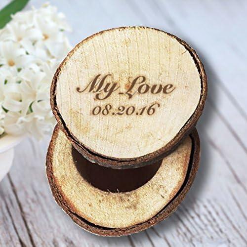 Mi Amor personalizado FECHA caja de anillos de boda Recuerdos de ...