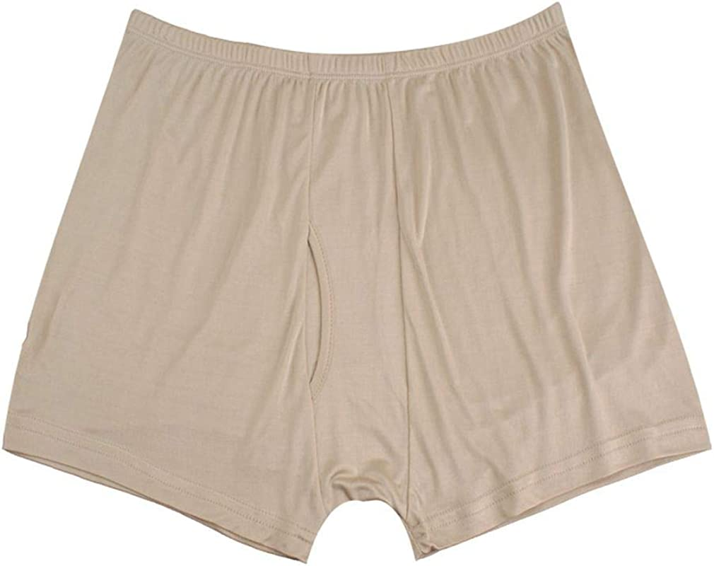 Ho Mens Silk Boxer Briefs Mr Ultra Soft and Breathable Underwear with Open Fly