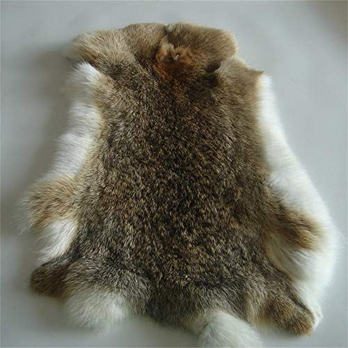 "Natural Tanned Rabbit Fur Hide (10"" by 12"" Rabbit Pelt with Sewing Quality Leather)"