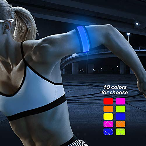 BSEEN LED Slap Bracelet, Light up Armbands for Running, Glow in The Dark Sports Safety Event Wristbands for Men& Women (Blue)