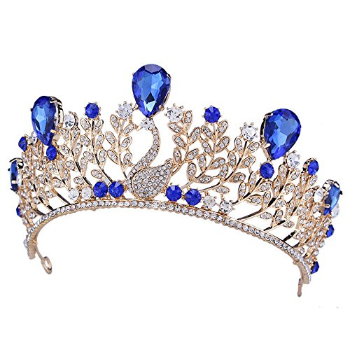 YUE DOU XIONG Swan Teardrop Gold Blue Rhinestone Crystal Leaf Style Wedding Party Headband Tiara Crown -