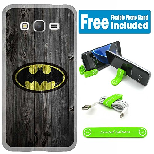 [Ashely Cases] For Samsung Galaxy [J3 2017] [J3 Prime] [J3 Emerge] Cover Case Skin with Flexible Phone Stand - Batman Wood