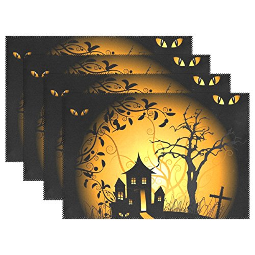WIHVE Placemats Wipeable Dining Halloween Owl Table Mat Rectangle Polyester Washable Insulation Non-slip Kitchen Placemat Set of (Diy Halloween Placemats)