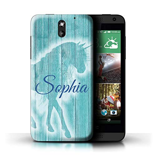 Personalized Custom Handwritten Fantasy Unicorn Case for HTC Desire 610 / Teal Wood Effect Design/Initial/Name/Text DIY - For Htc 610 Cases Desire Teal