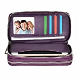 HAWEE Big Size Long Wallet for Woman Dual Zippered Clutch Purse Premium PU 5 Credit Card Slot 1 Smart Phone Slot 1 Coin Purse and Ample Compartments for Cash and Note, Purple-Lichi