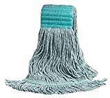 M2 Professional Swinger Synthetic Green Extra Large Looped-End Mop Replacement Head, 5'' Headband - Case of 12 - For Industrial, Commercial & Home use, Hardwood, tile, etc.