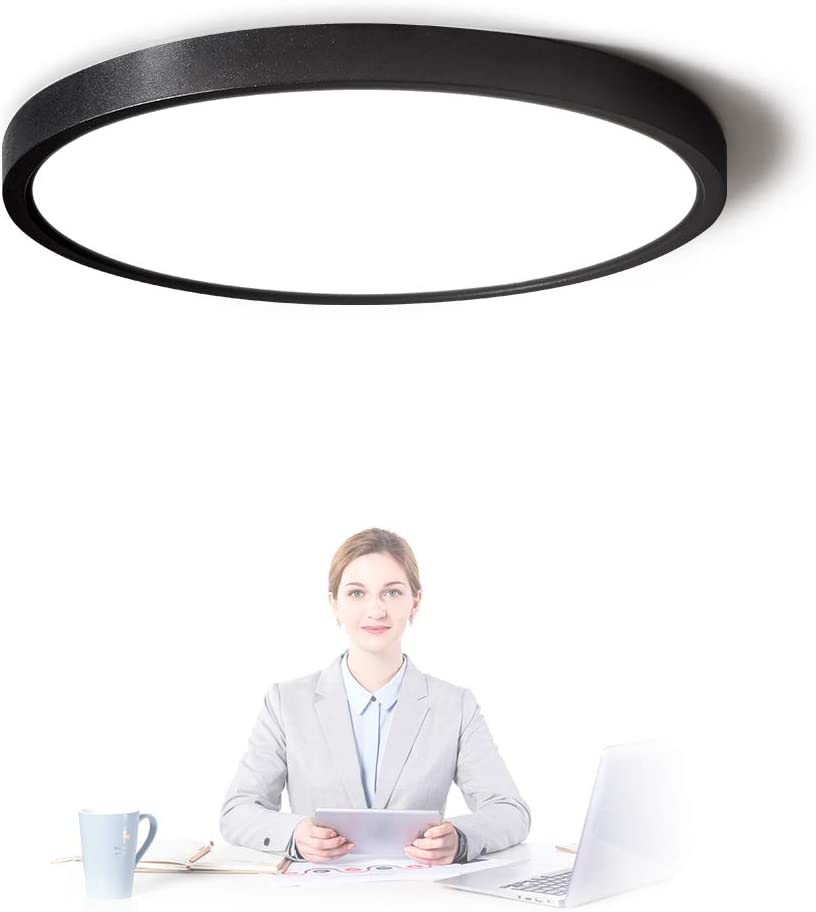 TALOYA Flush Mount Ceiling Light Black, Surface Mount LED Light Fixture for 10-25 Square Meters Room,0.94 Inch Thickness, 20w 12 Inch Round, 3 Color Temperatures in One (3000k/4000k /6500k)