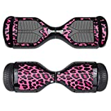 MightySkins Protective Vinyl Skin Decal for Swagtron T1 Hover Board Self Balancing Smart Scooter wrap cover sticker skins Pink Leopard