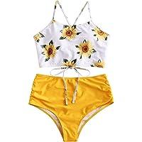 ZAFUL - Conjunto de bikini sexy con estampado de girasoles con cordones cruzados para mujer