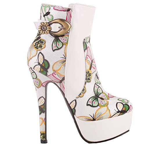 SHOW STORY White Multicoloured Embroidered Butterfly Buckle Platform Stiletto Ankle Bootie Boots,LF80864WT39,8US,White