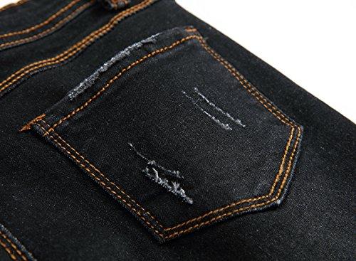 7acf6ffc1a66 FREDD MARSHALL Boy's Black Skinny Ripped Destroyed Distressed Stretch Slim  Fit Denim Jeans Pants