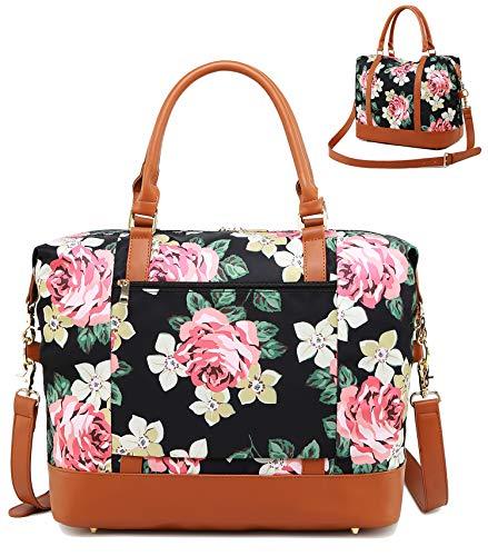 Weekender Overnight Bag Women Water-resistant Carry-on Duffel Shoulder Tote Bags in Trolley Handle (Black - Floral)