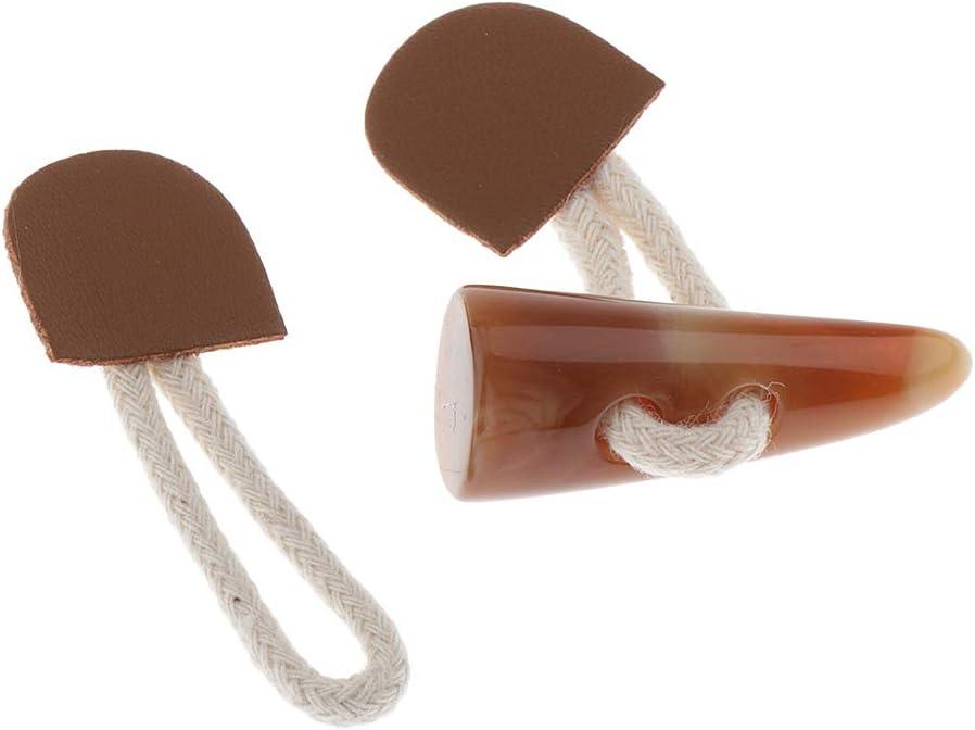 Duffle Horn Toggle Button f/ür Jacke Mantel 6 Paar Vintage Resin PU Leder Knebelkn/öpfe mit Seil
