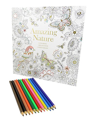 Rainbow Colored Pencil Set Art Tools (12) With Amazing Nature Coloring Book 50 Pages (Bundle of 2) ()