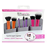 Real Techniques 3 Pocket Expert Organizer Grey, Easily Mounts to Mirror, Wall, Dresser, or Tile, Holds Makeup, Makeup Brushes, Blenders, and Tools