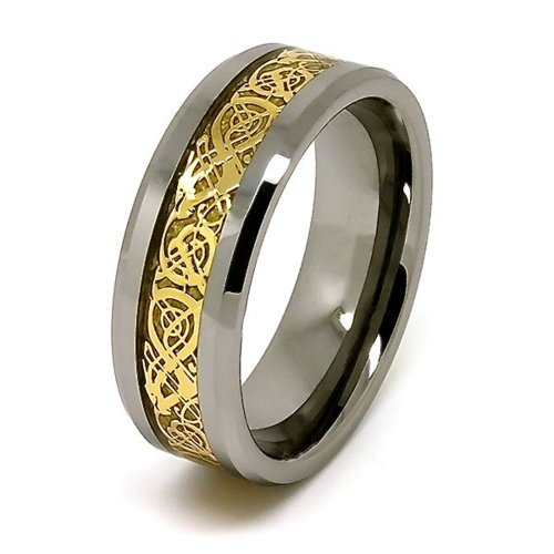 8mm Polished Tungsten Wedding Band with Golden Colored Celtic Dragon Inlay Size 15.5 For Sale
