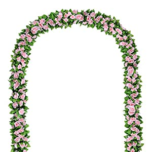 Flower Ivy Garland Artificial Silk Rose Garland,4 Strands Each Strand 7.9FT Fake Flower Ivy Leaf Vine Plants Home Hanging Party Garden Wedding Decor,Pink 91