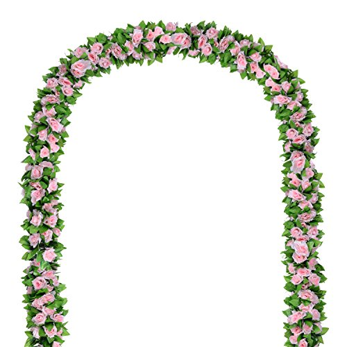 Flower Ivy Garland Artificial Silk Rose Garland,4 Strands Each Strand 7.9FT Fake Flower Ivy Leaf Vine Plants Home Hanging Party Garden Wedding Decor,Pink