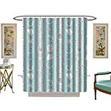 Circo Fish Shower Curtain Shower Curtain Collection by Nautical Marine Theme Sea Animals Fishes Shells OnStriped Blue Blue Light Blue White W69 x L75 Custom Made Shower Curtain