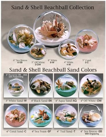 Sand and Shell Sandglobe Paperweight 3-inch White Sand