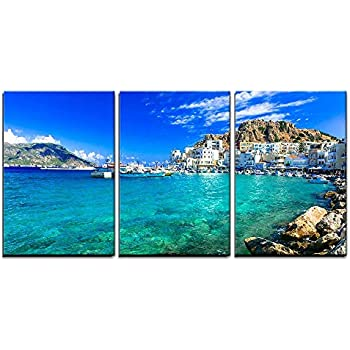 wall26 - 3 Piece Canvas Wall Art - Beautiful Islands of Greece- Karpathos- Pigadia - Modern Home Decor Stretched and Framed Ready to Hang - 16