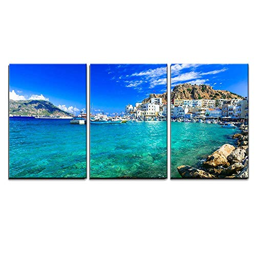 (wall26 - 3 Piece Canvas Wall Art - Beautiful Islands of Greece- Karpathos- Pigadia - Modern Home Decor Stretched and Framed Ready to Hang - 24