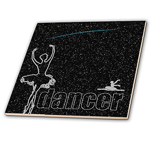 1ed1bc51593ca 3dRose Kike Calvo Ballerinas and Dancers - Sketched Ballerina Looking at a  Shooting Star on a Black Starry Night - 4 Inch Ceramic Tile (ct_299385_1)