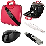 """SumacLife Cady Collection Carrying Case for Asus 11.6 to 12.5"""" Laptops / Convertible + USB Mouse + 4GB Thumbdrive + 3 Port USB Hub (Pink)"""