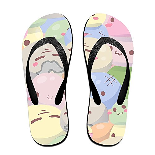 Rubber Non House Slip Chic Flip Rice Kawaii Thong Print Slippers Slipper Sandals Black Unisex Couple Cake Flops wqvORBP