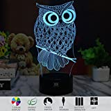 3D Illusion Animal Owl LED Desk Table Night Light Lamp 7 Color Touch Lamp Kiddie Kids Children Family Holiday Gift Home Office Childrenroom Theme Decoration by HUI YUAN