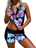 Podlily Women Floral Zip Front Tankini Swimsuits with Swim Shorts Girls Bathing Suit X-Large Black