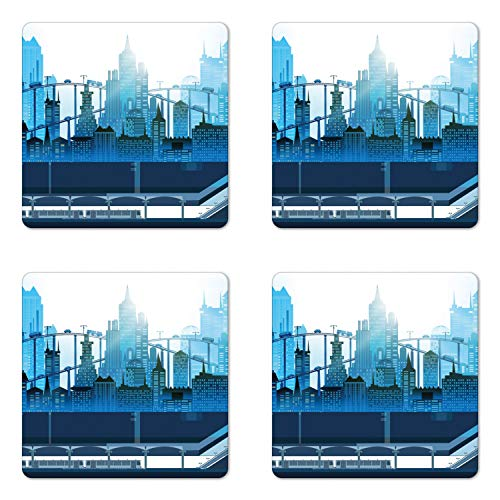 Lunarable Underground Coaster Set of Four, Modern Metropolis City with Skyscrapers Train Tube Station Futuristic Design, Square Hardboard Gloss Coasters for Drinks, Multicolor