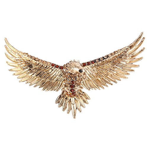 (EVER FAITH Women's Austrian Crystal Vintage Style Flying Eagle Bird Brooch Brown Antiqued Gold-Tone)