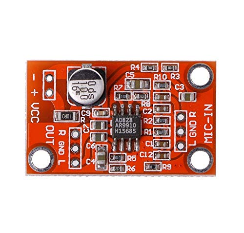 KIMME DC 3.8V-15V AD828 Stereo Dynamic Microphone Preamplifier Board MIC Preamp Module Integrated Circuits