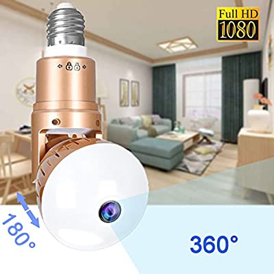 360 WiFi Light Bulb Camera - 360 Degree Panoramic Surveillance IP Bulb Cameras with Night Vision Motion Detection Remote Home Security Monitoring Systems for Outdoor Baby Pet Surveillance Cam