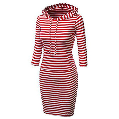 Menglihua Womans Basic Bodycon Pullover Hooded Hoodies Dress with Kangaroo Pockets Red Stripe Raglan Sleeve Large