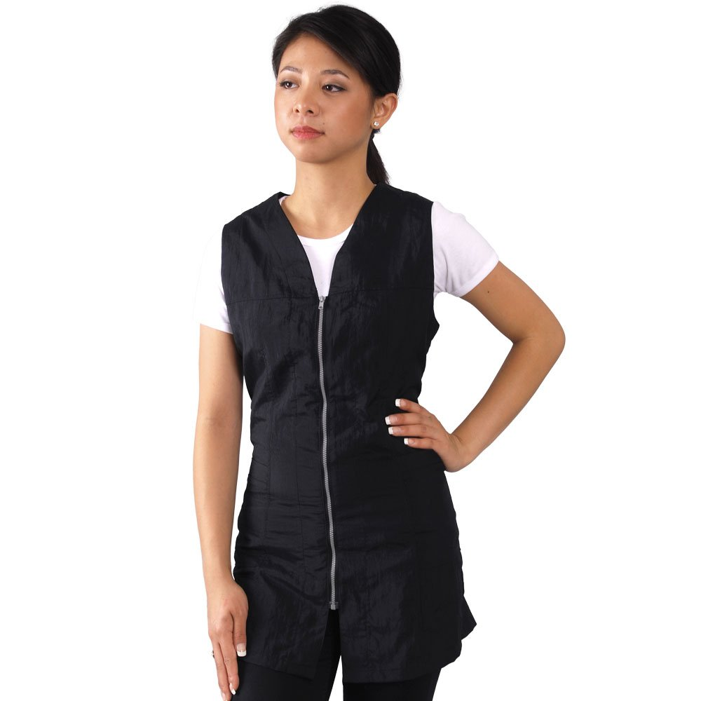 JMT Beauty Black Zipper Sleeveless Salon Smock (M (8))