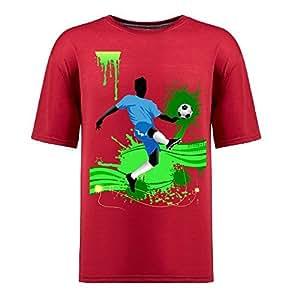 Brasil 2014 FIFA World Cup Short Sleeve T-shirt,Penalty Kick Background Mens Cotton shirts red